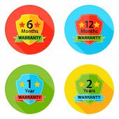 Warranty Flat Circle Icons Set 1 With Shadow