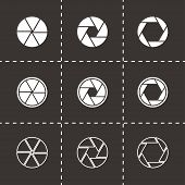 Vector black camera shutter icon set