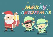 Christmas Poster Design Christmas Card With Santa Claus And Elves