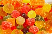 Background of colorful sweets and jelly closeup