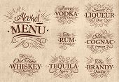 Set alcohol menu retro
