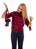 Female Photographer Choosing Between Two Cameras - Isolated On W