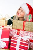 Portrait Of Casual Happy Woman Holding A Lot Of Gifts