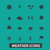 weather, climate icons, signs, silhouettes set, vector