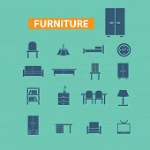 furniture, room elements, icons set, vector