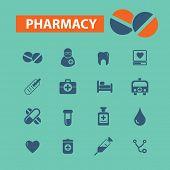 pharmacy, hospital, doctor icons set, vector