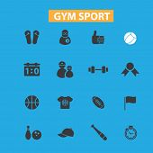 gym sport icons, signs set, vector
