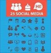 25 social media, blog, network icons, signs set, vector
