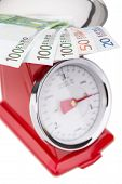 Euro Banknotes On The Scales. Euro Currency In Inflation.