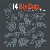 Big Cats in tribal style. Vector set.