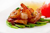 foto of sauteed  - Shrimp sauteed with garlic and soy sauce on a cushion of avocado slices - JPG