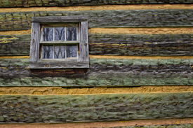 stock photo of cade  - A close up image of a log cabin wall in Cades Cove - JPG