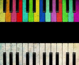 pic of rainbow piano  - piano isolated for play - JPG