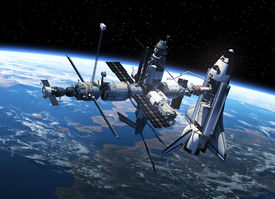 picture of spaceman  - Space Shuttle And Space Station In Space - JPG