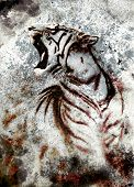 image of tiger cub  - painting abstract tiger collage on color abstract background rust structure wildlife animals - JPG