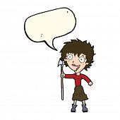 picture of spears  - cartoon crazy woman with spear with speech bubble - JPG