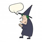 picture of ugly  - cartoon ugly old witch with speech bubble - JPG