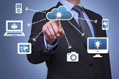 stock photo of computer  - Pushing cloud computing button communication computer network background blurred - JPG