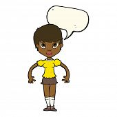 picture of annoying  - cartoon woman looking annoyed with speech bubble - JPG