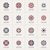 stock photo of mehendi  - Geometric logo template set - JPG