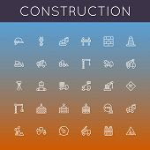 picture of excavator  - Thirty construction line icons - JPG