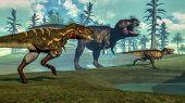 picture of tyrannosaurus  - Nanotyrannus hunting small tyrannosaurus next to its parent - JPG