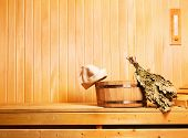 picture of sauna  - a sauna accessories in a wooden sauna - JPG
