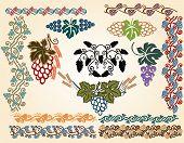 picture of art nouveau  - big set grape art nouveau pattern collection - JPG