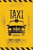 stock photo of cabs  - Typographic graffiti retro grunge taxi cab poster - JPG