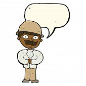 picture of crazy hat  - cartoon man in safari hat with speech bubble - JPG