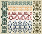 foto of art nouveau  - set pattern element art nouveau color and black - JPG