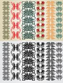 stock photo of art nouveau  - set pattern element art nouveau color and black - JPG