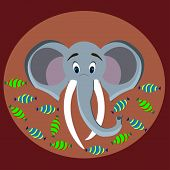 foto of tusks  - The image of an elephant with trunk and tusks on a background of candy - JPG