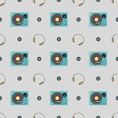 image of subwoofer  - Seamless pattern with DJ booth and headphone vector background - JPG
