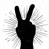picture of peace-sign  - Distressed peace sign silhouette grunge template for your text - JPG