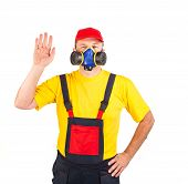 image of respiration  - Worker in hat with respirator - JPG