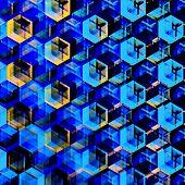 stock photo of hexagon  - Abstract blue hexagons background - JPG