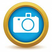 picture of megapixel  - Gold camera icon on a white background - JPG