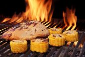 picture of flame-grilled  - Grilled BBQ Chicken Breast and Corn Rings Close - JPG