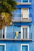 stock photo of costa blanca  - Mediterranean blue on old town houses Costa Blanca Spain - JPG