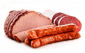 stock photo of slaughterhouse  - Assorted meat products including ham and sausages isolated on white - JPG