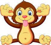 image of disrespect  - Vector illustration of Cartoon monkey making a face and showing his tongue - JPG