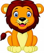 pic of lion  - Vector illustration of Cartoon lion sitting isolated on white background - JPG