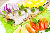 image of hake  - fish hake baked with vegetables on a plate - JPG