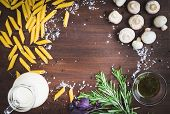 stock photo of pasta  - Mushroom pasta ingredients - JPG
