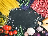 picture of spaghetti  - Spaghetti Bolognese ingredients - JPG