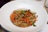 stock photo of glass noodles  - Glass Chinese noodles with vegetables and mushrooms - JPG