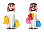 image of arab man  - Realistic 3D Handsome Saudi Arab Man Character Wearing Traditional Clothes Holding Shopping Bags in WHite Background - JPG