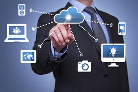 image of network  - Pushing cloud computing button communication computer network background blurred - JPG