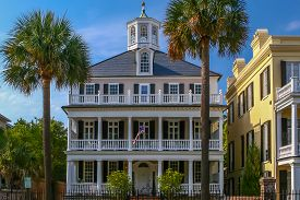 stock photo of mansion  - Beautiful full view of a Charleston Mansion in the Battery district - JPG